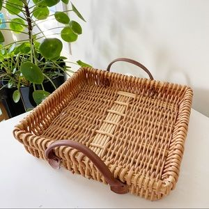 Woven wicker rattan tray w/ brown leather handles